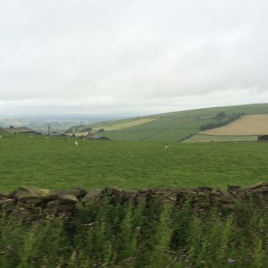 Picture of the countryside taken from inside the fuel tanker