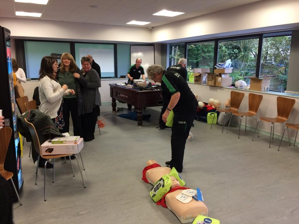 Defibrillator training at Crown Oil