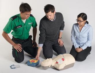Defibrillator Training - Crown Oil - Image courtesy of SJA